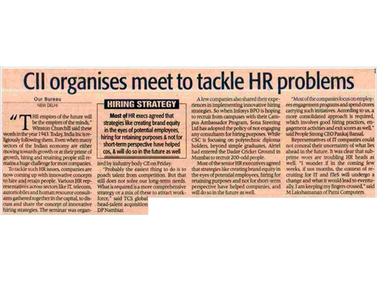 CII Organizes a meet to tackle HR problems with PeopleStrong as Knowledge Partner